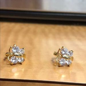 Jewelry - New shiny crystal butterfly gold stud earring